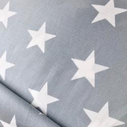 Cotton poplin with stars, grey