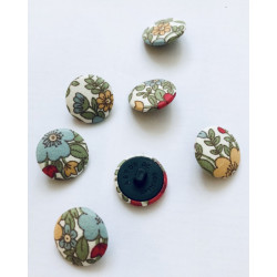 Fabric buttons floral, red...