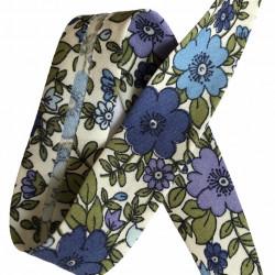 Skråbånd med blomster, blå...