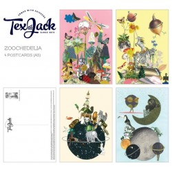 Tex og Jack postkortpakke Zoochedelia  (4 stk)