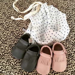 Baby moccasins in soft leather